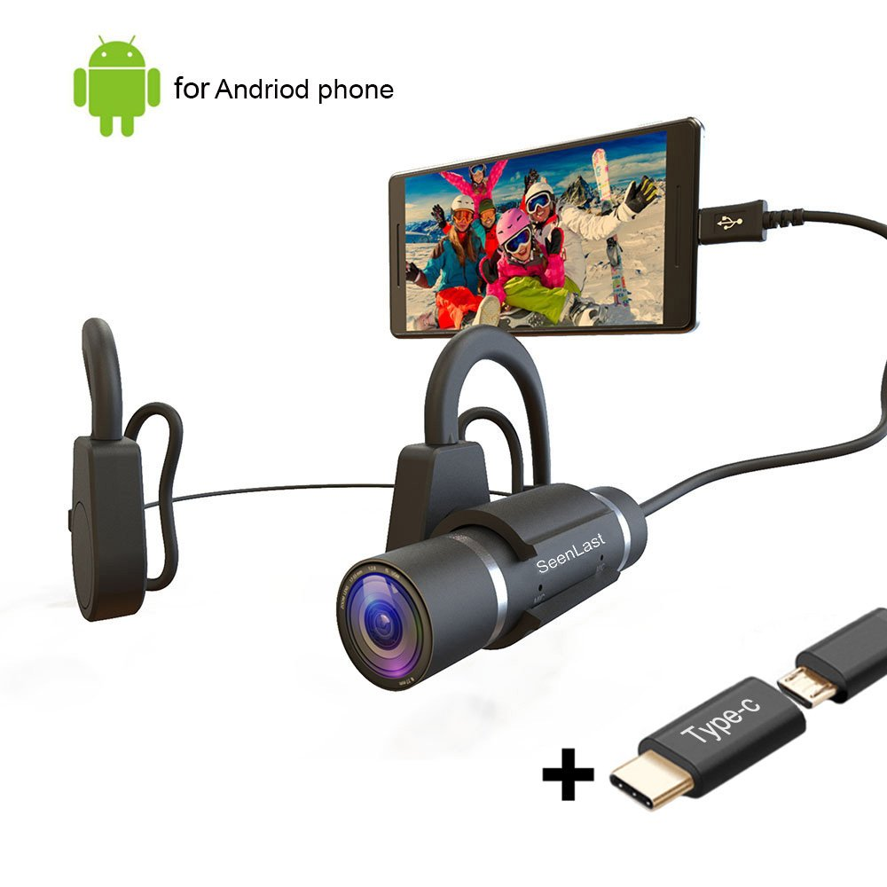Hands-Free Mini HD Video Sports Camera, Head-Mounted Camcorder Journalist Interview & Live Events & Outdoor Sports Recording Only Supports Android System (Silver) by Seenlast