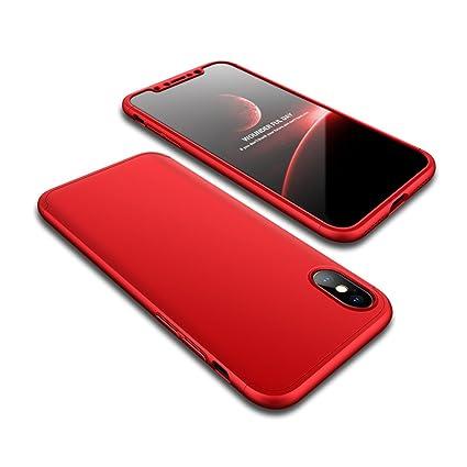 Adamarkeer Funda iPhone X, iPhone XS Carcasa 360 Grados Rígida Anti-rasguños Anti-Huella Shockproof Cuerpo Completo Cover + Protector de Pantalla de ...