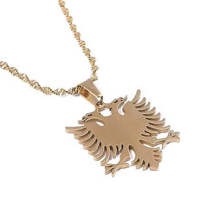 Amazon com: Albania Eagle Pendant Necklaces Gold Color