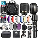 Holiday Saving Bundle for D3300 DSLR Camera + AF-S 35mm f/1.8G DX Lens + AF-P 18-55mm + 500mm Telephoto Lens + 6PC Graduated Color Filter Set + 2yr Extended Warranty + Battery - International Version