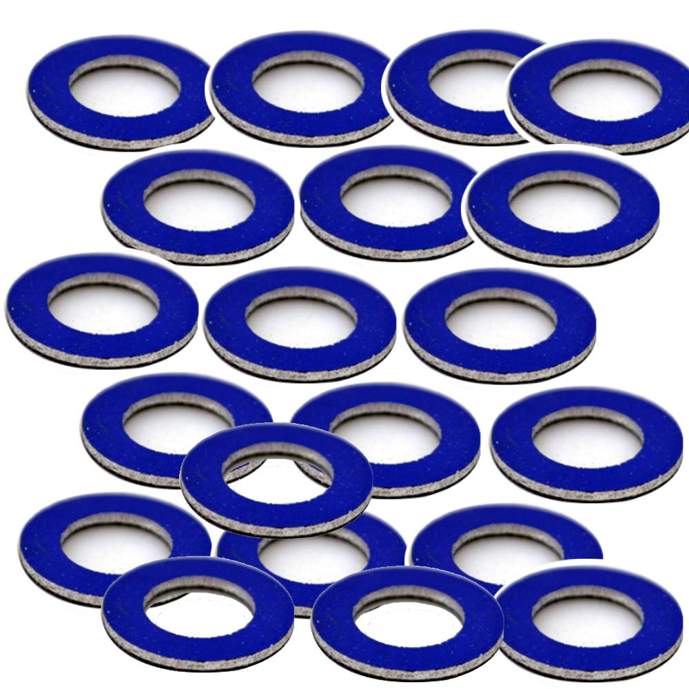 HIFROM Oil Drain Plug Gaskets Seal Washer Set for Toyota 90430-12031 - Blue (20pcs)