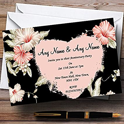 Amazon.com : Vintage Black Coral Pink Wedding Anniversary Party ...