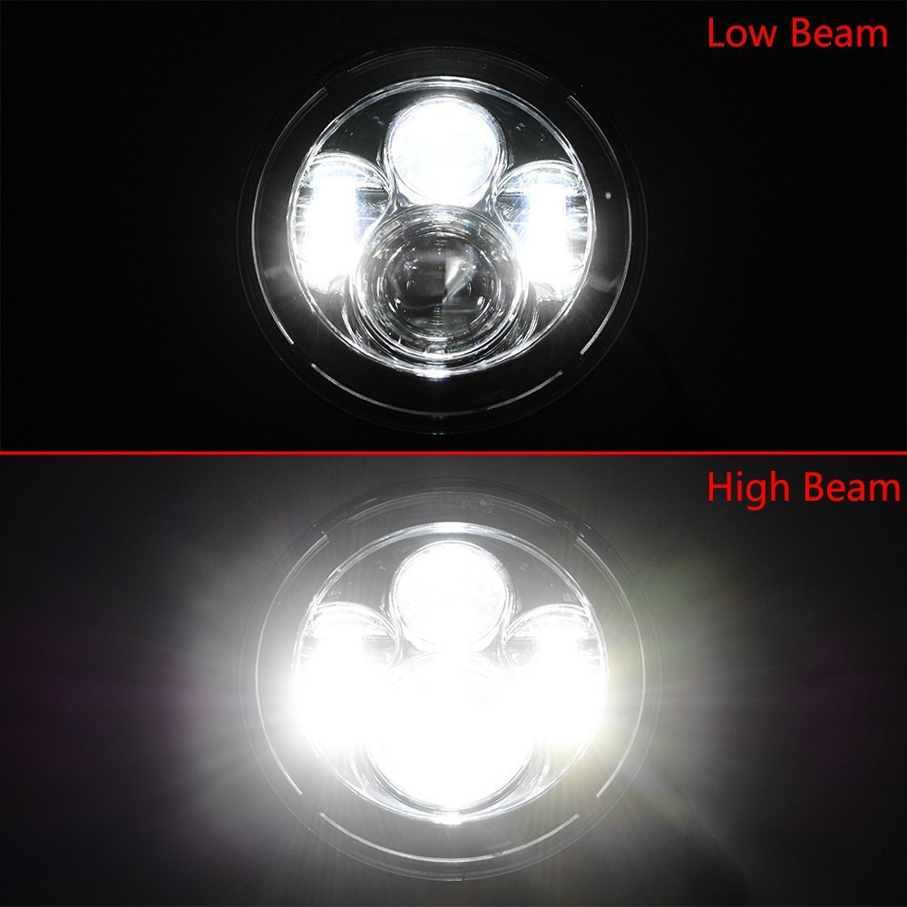 Chrome Harley Daymaker 7inch LED Headlight with 4.5inch Matching Chrome Passing Lamps for Harley Davidson Motorcycles with Adapter Ring by LX-LIGHT (Image #7)