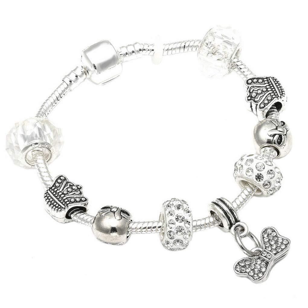 DARLING HER Charm Bracelets /& Bangles Women Jewelry Minnie Pink Bow-Knot Pendant Bracelet DIY Handmade for Girl Gift Rhodium Plated 20cm