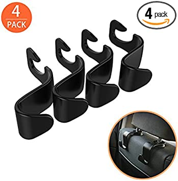EldHus Black OfsPower 4-Pack Back Seat Headrest Hook Vehicle Car Storage Organization for Purse Grocery Shopping Bags