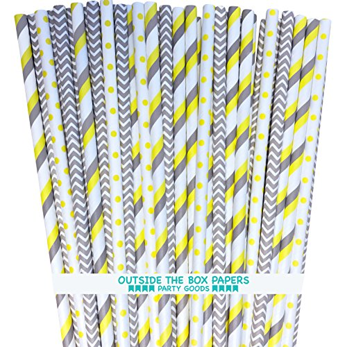 Paper Straws - Gray Yellow White - Stripe