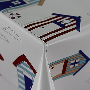 Diseño de casetas de playa color blanco limpiar - Mantel de vinilo PVC Pantalla en 140 cm de ancho - se vende por metro: Amazon.es: Hogar