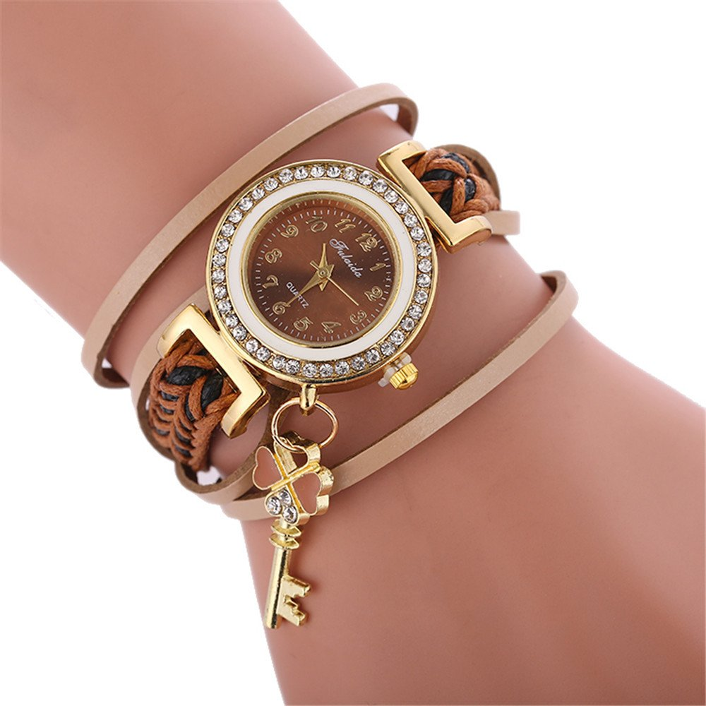 Women's Luxury Crystal Quartz Bracelet Watches Ladies Round Woven Wrap Around Leather Analog Wrist Watch Fashion Wristwatch Rhinestone Watches For Women Watches on Sale Clearance (D)