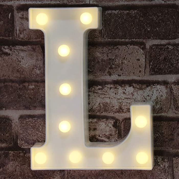 Pooqla LED Marquee Letter Lights Alphabet Light Up L Sign for Table Wedding Home Party Bar Decoration L