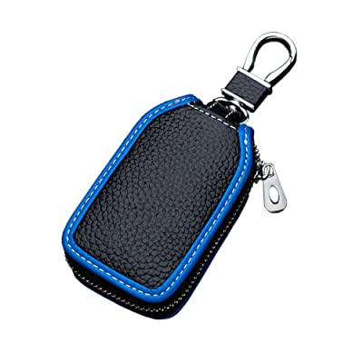 Car key case key Bag Wallet - Superior Genuine Leather Auto Car Key FOB Holder Protector Cover Smart Key Chain with Metal Hook and zipper Closure Universal (Black blue edge): Beauty