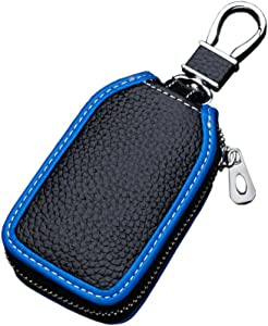 Car Key Case - Superior Genuine Leather Auto Key FOB Holder Smart KeyChain Protector Cover with Metal Hook and Zipper (Black blue edge)