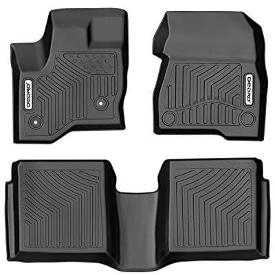 oEdRo Floor Mats Compatible for 2009-2020 Ford Flex, Unique Black TPE All-Weather Guard Includes 1st and 2nd Row: Front, Rear, Full Set Liners: Automotive