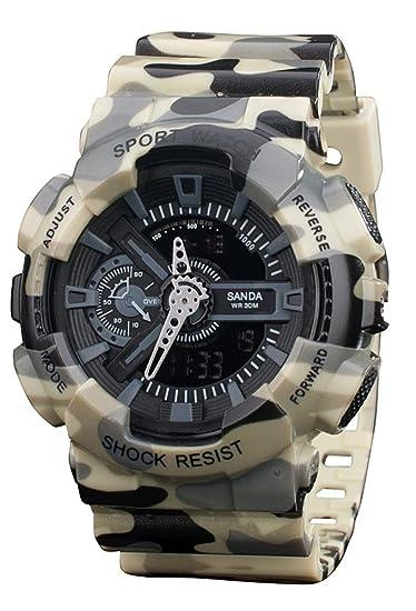 Niños reloj analógico Digital cuarzo electrónico reloj deportivo cronógrafo automático relojes de pulsera amarillo: Amazon.es: Relojes