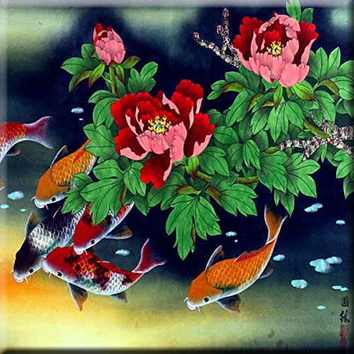 Fish Oriental illustration Painting Design Decorative Ceramic wall Tile 6 x 6 Inches Reproduction 4