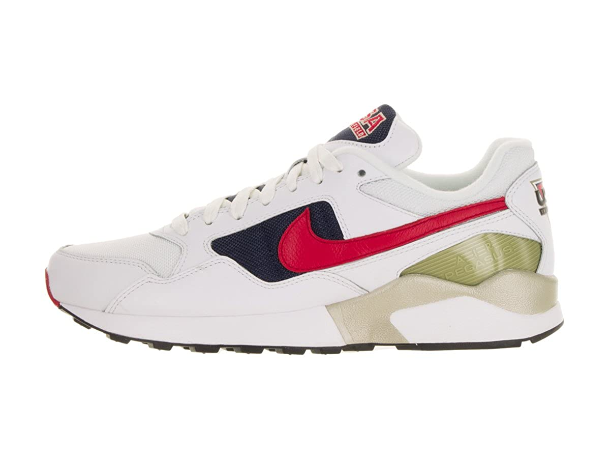 save off deb6c cd4a1 Amazon.com   Nike Mens Air Pegasus 92 Premium White University Red Midnight  Navy Running Shoe 13 Men US   Road Running