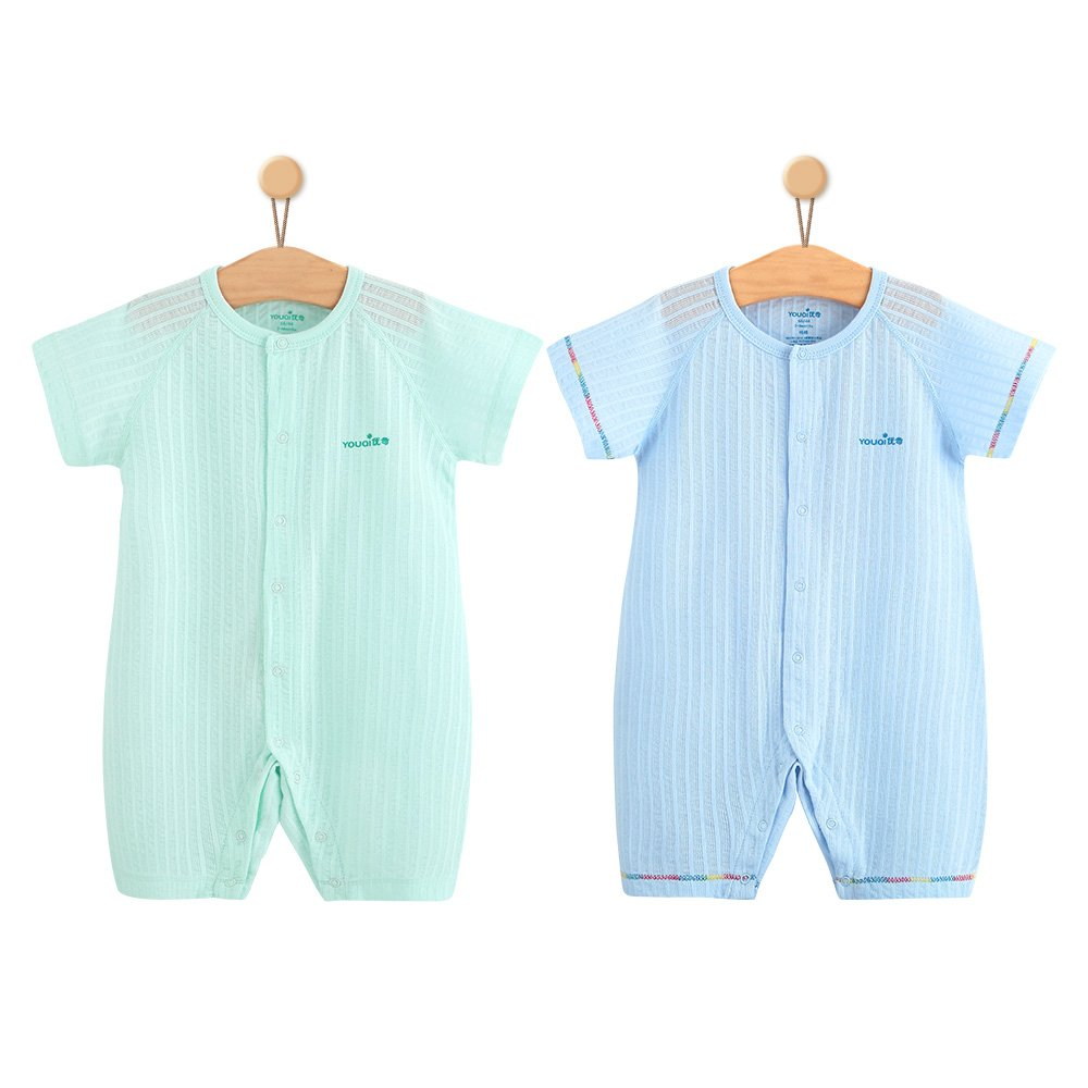 YOUQI Baby Girl Clothes Boy Rompers Summer Short Sleeve Toddler Infant Jumpsuit Clothing (18-24 Months, Green Blue)