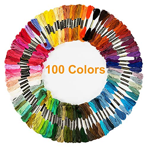100 Skeins Embroidery Cross Stitch Threads, Premium Multi-Color Handmade Craft Floss, Friendship Bracelet String(6 Strands 8.75 Yard)