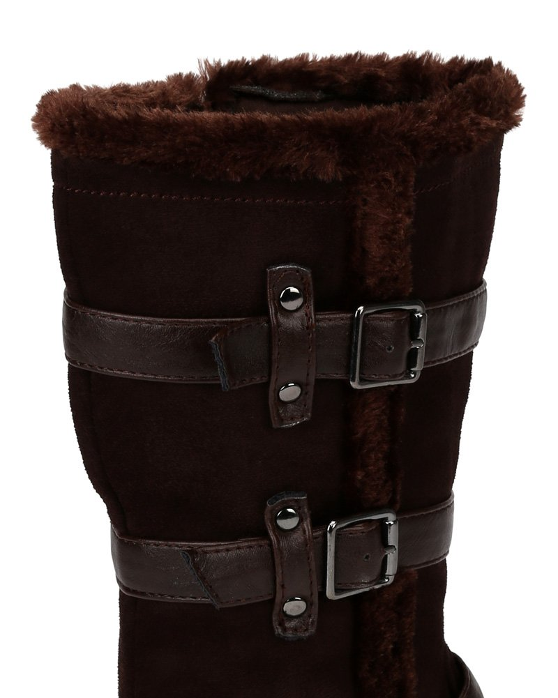 Little Angel Winter-722E Suede Fur Accent Buckle Strap Riding Boot (Little Girl/Big Girl) AF22 - Brown (Size: Little Kid 11) by Little Angel (Image #3)