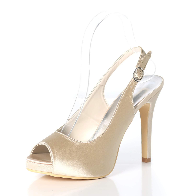 Eleboeb Donna Scarpe da Sposa Tagliati Tagliati in Raso Peep Toe Buckle da Sera Tacchi Alti con Tacco Alto da Sposa//Tacco da 11 cm