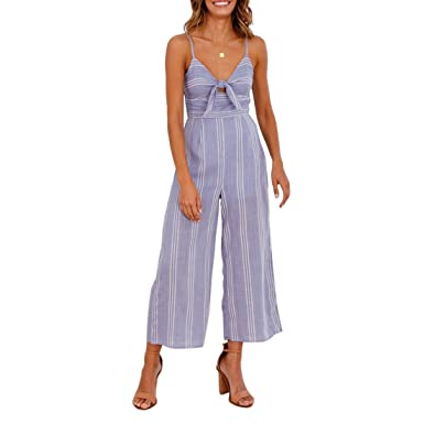 a913a71f83 Shinekoo Women Boohoo Beach Playsuit V Neck Sleeveless Off Shoulder Stripe  Front Wrap Long Wide Leg Jumpsuit  Amazon.co.uk  Clothing