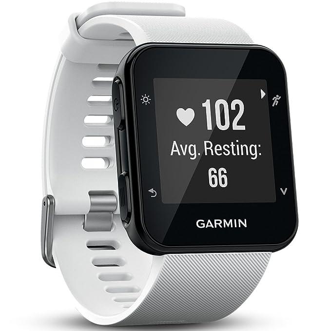 Garmin Forerunner 35 - Reloj GPS con monitor de frecuencia cardiaca en la muñeca, monitor de actividad y notificaciones inteligentes, color blanco