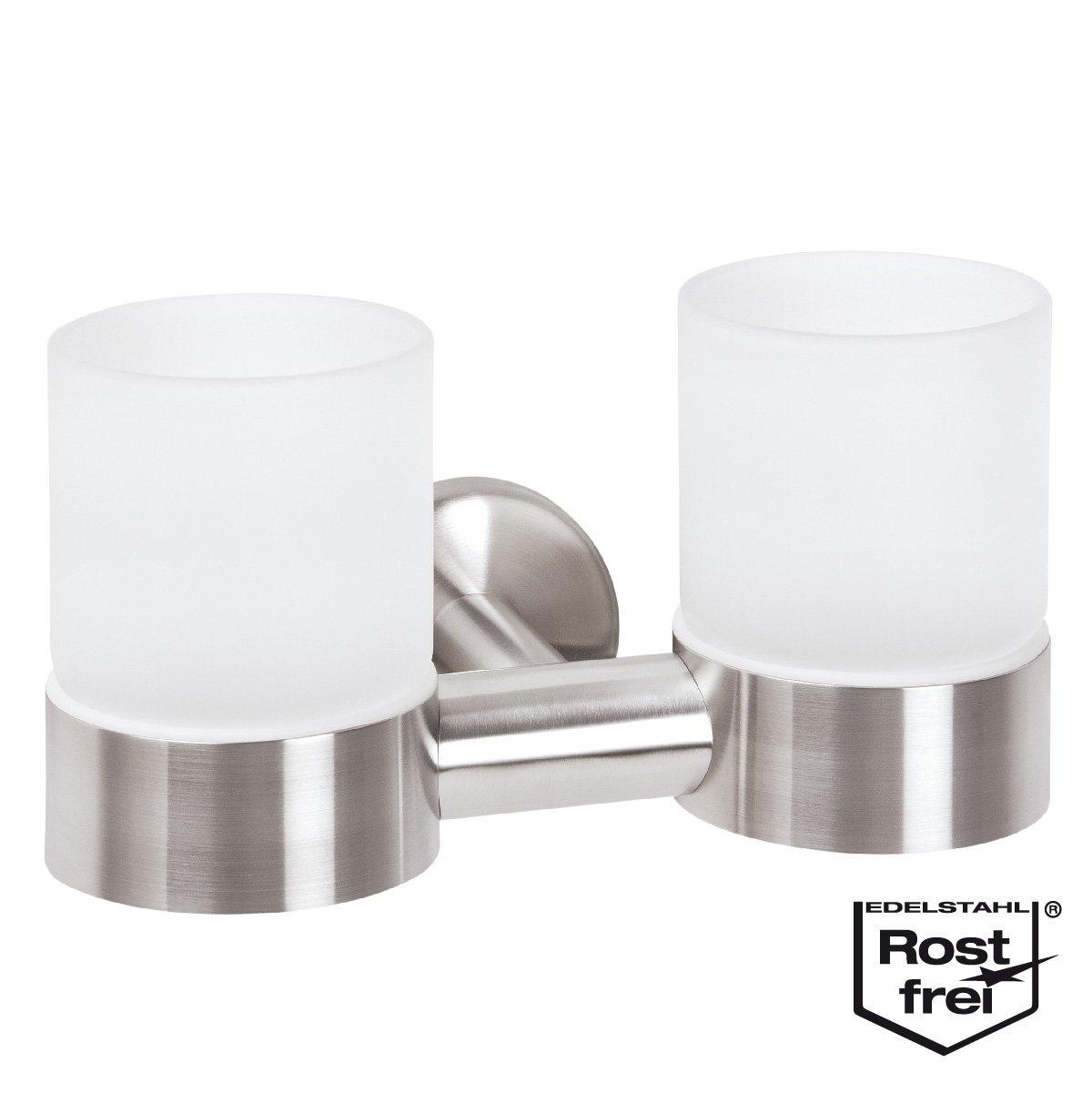 bremermann® PIAZZA Bathroom Range - Double Glass Holder, stainless steel 9428