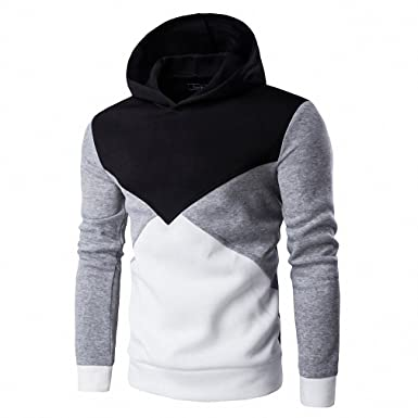 Hoodie Sweatshirt Men Fashion Patchwork Hoodies Men Casual Hooded Sudaderas Hombre Black M
