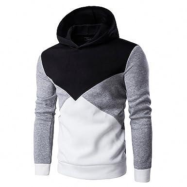 Hoodie Sweatshirt Men Fashion Patchwork Hoodies Men Casual Hooded Sudaderas Hombre Black M