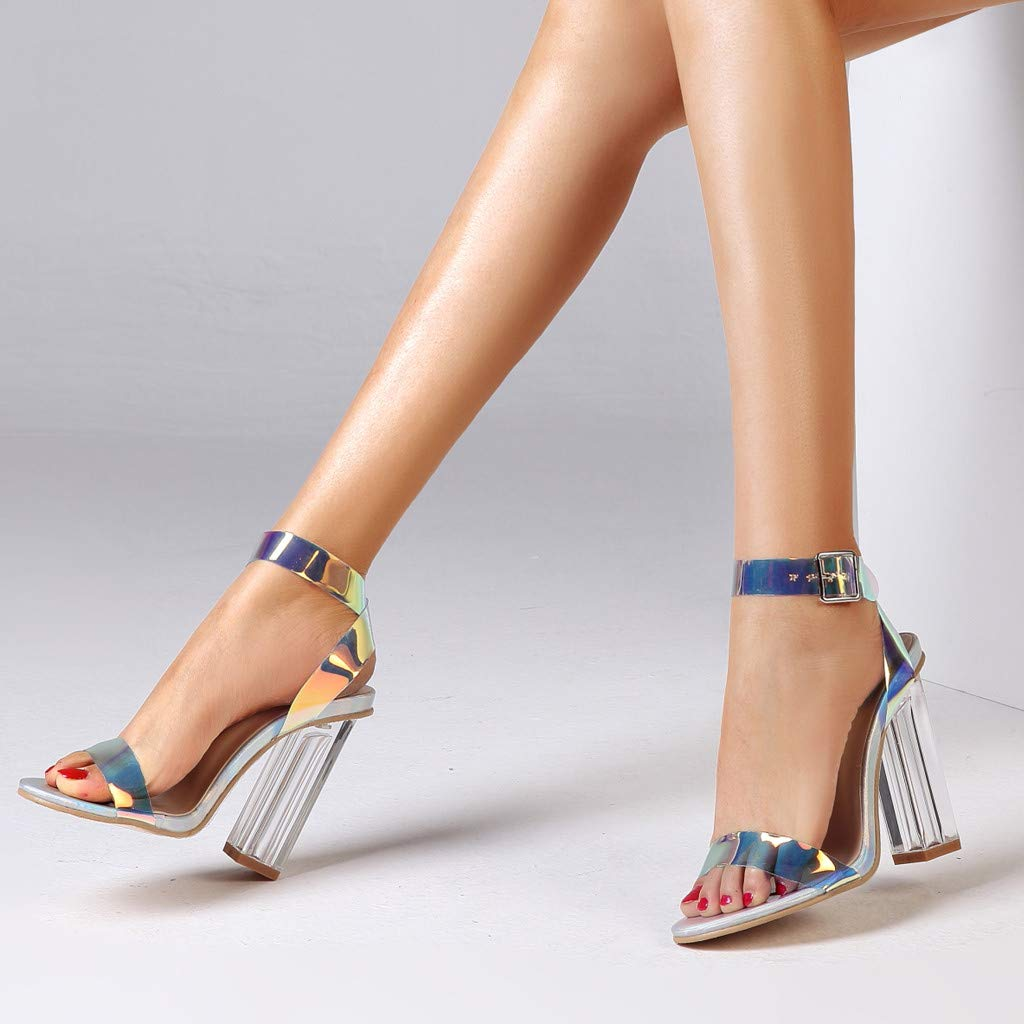 Tsmile Summer Womens Sequin Sandals Plus Size Open Toe Round-Toe High Heels Sandals Fashion Ladies Party Shoes