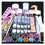 Weccomeuni Acrylic Powder Glitter Nail Brush False Finger Pump Nail Art Tools Kit Set