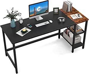 CubiCubi Computer Home Office Desk, 63 Inch Small Desk Study Writing Table with Storage Shelves, Modern Simple PC Desk with Splice Board, Black/Brown