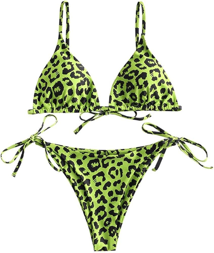 ZAFUL - Bikini Acolchado con Estampado de Leopardo para Mujer, Sexy, triángulo de Copa con Tirantes de Espagueti, Bikini, bañador de Verano