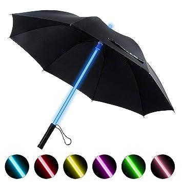 BESTKEE LED Paraguas Lightsaber Infantil Hombre Mujer, Luz para Arriba Paraguas de Golf con el