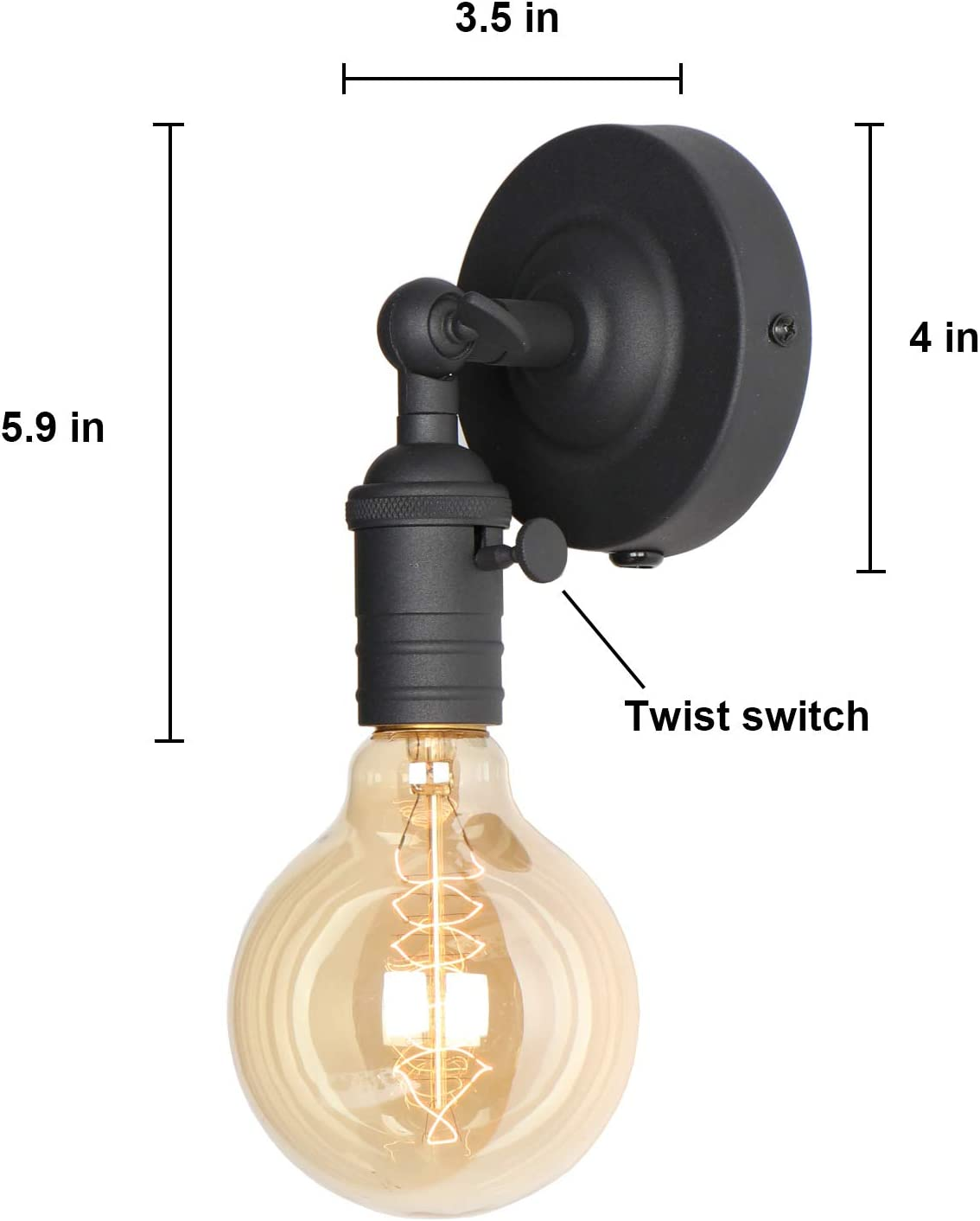 Amazon Com Mini Wall Sconces Lighting Fixture Xiding Upgrade Black Finish Vintage Wall Lamp Single Socket With Candlestick Molding Design Industrial Rustic Retro Metal Wall Lights With On Off Switch 1 Light Home Improvement