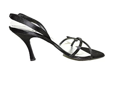 Womens Triglow Leather Black Satin Open Toe Heels Slingback Sandals Size 9 M