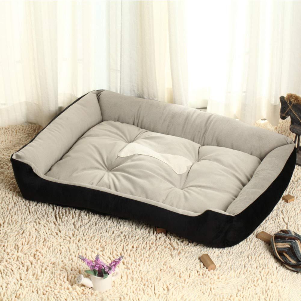 Non-Skid Dog Bed, Big Size Pet House, Soft Cozy Breathable Washable Dog Cushion-Black S