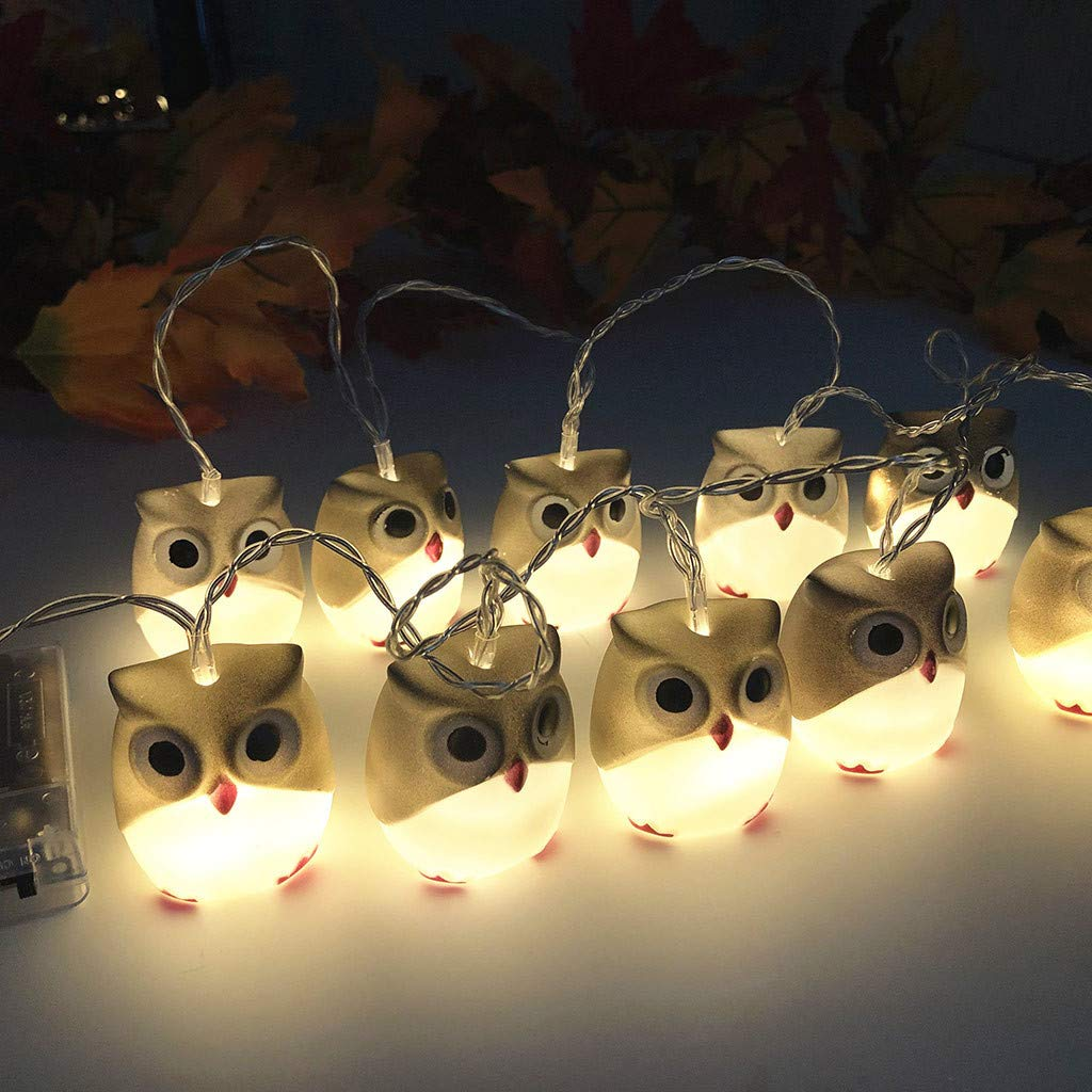 Au/ßen Party Hochzeit Balkon Wanshop LED Lichterketten Halloween New Owl Lights Wasserdicht f/ür Garten Wei/ß Hof