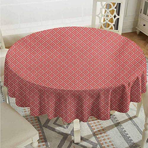 XXANS Indoor/Outdoor Round Tablecloth,Geometric,Horizontal Diamond Line Pattern Design with Chevron Lines Tile Print,for Banquet Decoration Dining Table Cover,60 INCH,Coral Cream Salmon