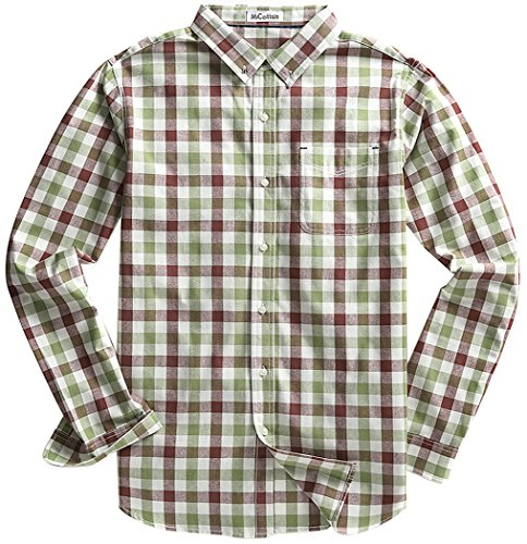 Cotton Plaid Work Shirt (MiCotton Men's Long Sleeve Button Down Cotton Plaid Casual Shirts,Coffee and Grass Green,Medium)
