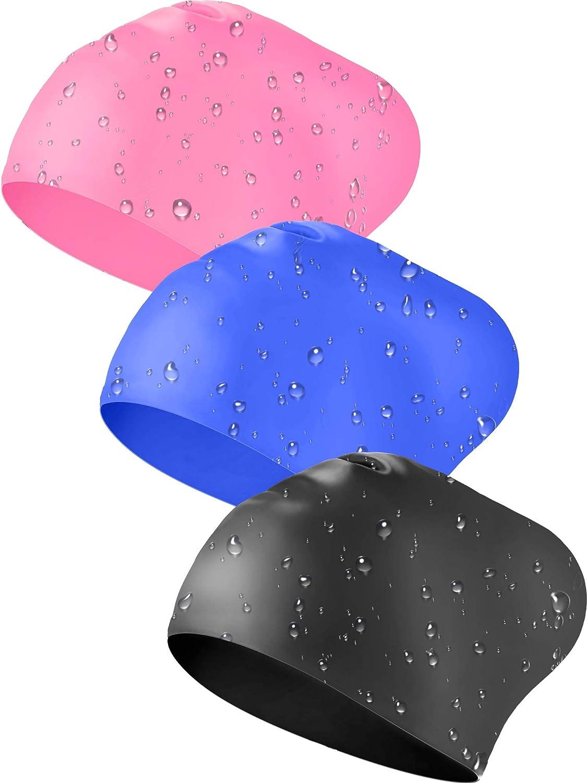 Geyoga 3 Pezzi Cuffie da Nuoto in Silicone Nuoto Cappello Capelli Lunghi Cuffie da Bagno per Mantenere i Capelli Asciutti