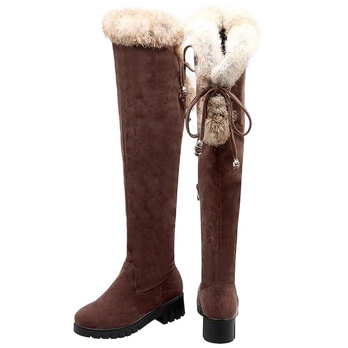 AIYOUMEI Damen Nubukleder Blockabsatz Overknee Stiefel mit Fell und 5cm Absatz Winter Warm Langschaft Stiefel LhMQ9g1