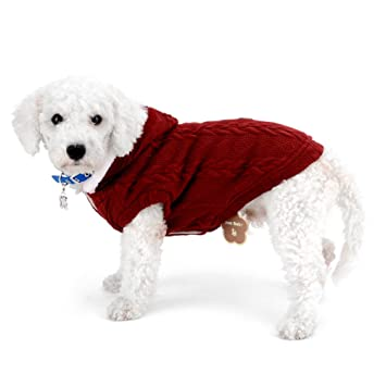ZUNEA Abrigo suéter para perros pequeños Clásico forro polar con capucha Cable de punto suave y