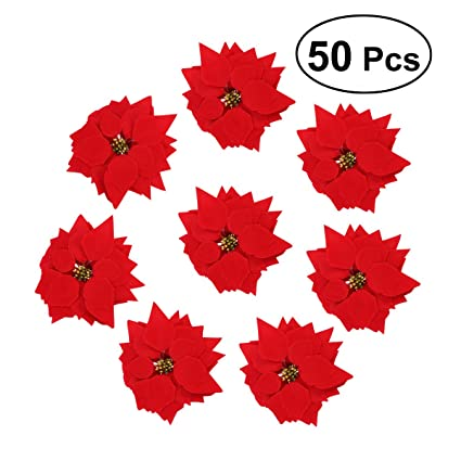 vorcool 50pcs artificial poinsettia floral heads christmas tree decorations xmas home front door wreath table centerpieces - Poinsettia Christmas Tree Decorations