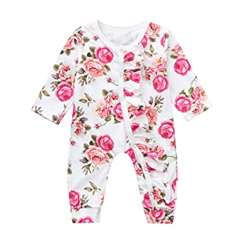 52f2267f71bb Amazon.com  Christmas Romper for Infant Baby Newborn Girls Floral ...