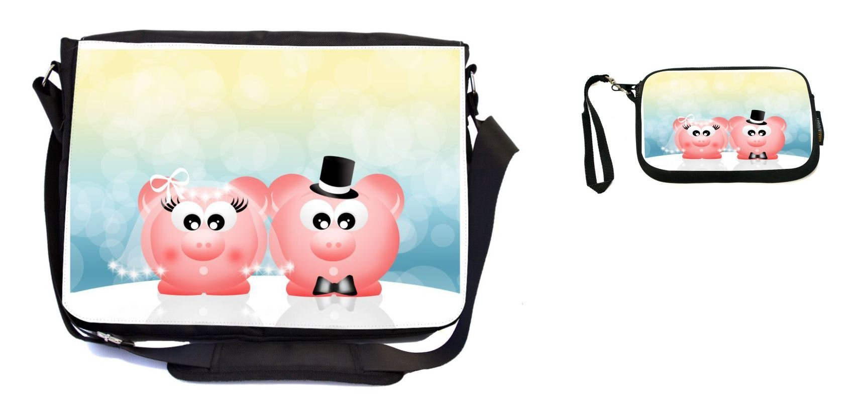 Rikki Knight Pink Pigs in Love Wedding Illustration Design Messenger Bag - School Bag - Laptop Bag - with Padded Insert - Includes UKBK Premium Coin Purse