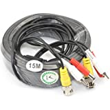 iKKEGOL 49ft Video Audio 12V Power DVR Surveillance Security CCTV Camera RCA BNC Cable Cord Lead (15M)