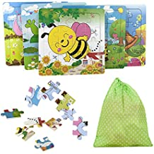 KateDy 5 Pack Wooden Animals Jigsaw Puzzles - Develop Dexterity and Problem Solving Motor Skill Toys Grown Up Puzzles Games Sets for 3 Years Up Toddlers Kids Children(Each Pack 16 Piece)
