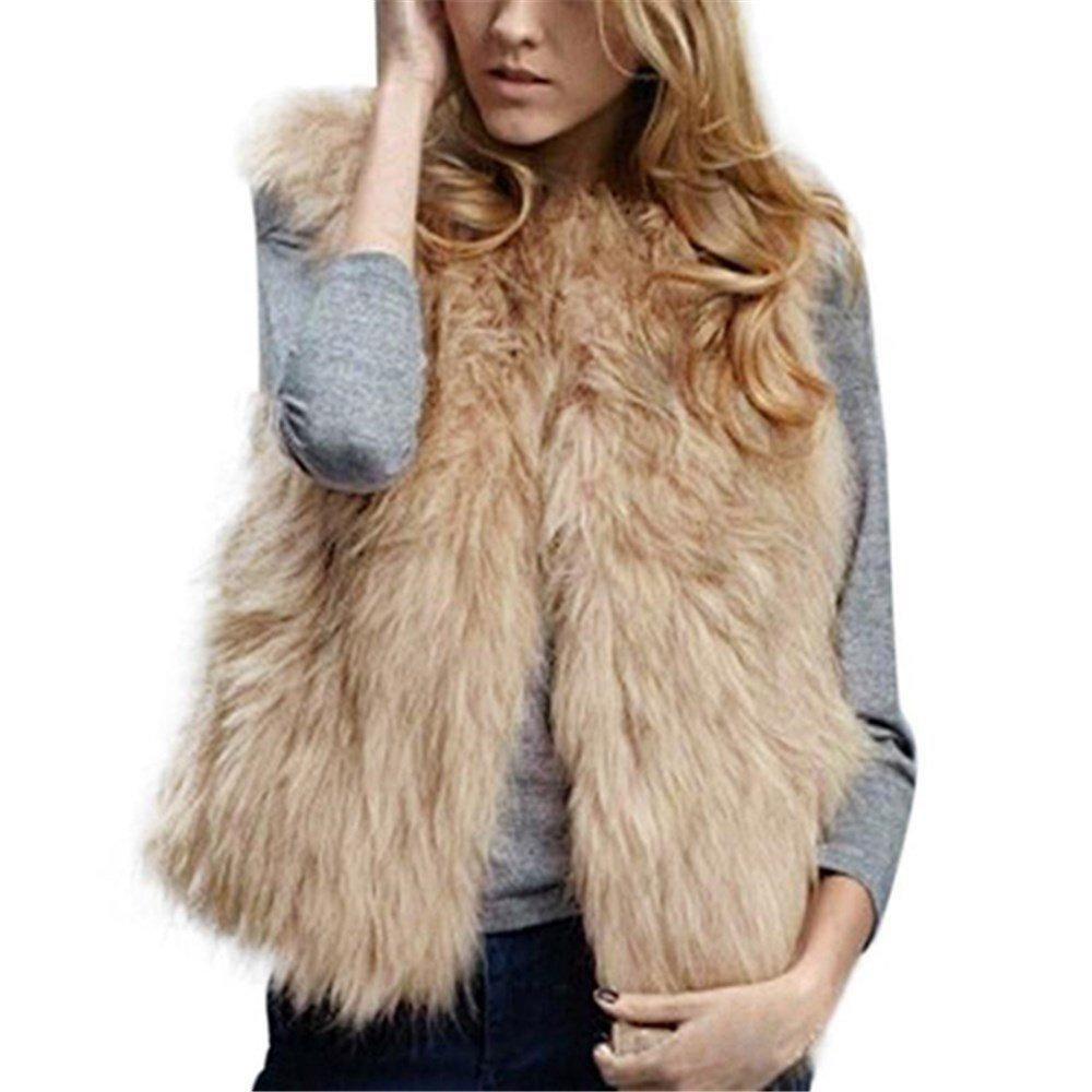 Kimloog Women Winter Warm Sleeveless Short Faux Fur Vests Casual Jacket Coat Outerwear (L, Khaki)