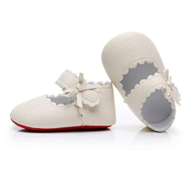 HONGTEYA Infant Baby Girls Red Sole Ballet Dress Shoes Mary Jane Princess  Soft Sole Frist Walkers 5172acd13994