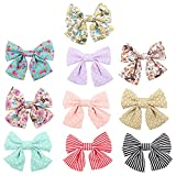 Oaoleer 10pcs 3.5'' Fabric Ribbon Hair Bows with Clips for Baby Toddler Girls Teens